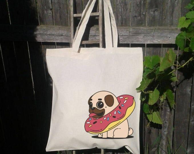 Pug Tote Bag, Reusable Tote Bag, Donut and Pug , Grocery Bag, Dog Tote