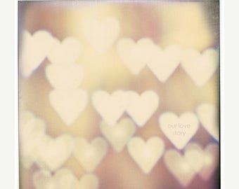 "Love photography Personalized love print ""I Love You"" Fine Art Photography Bokeh Hearts Print, Still life Photography, Neutral art Beige"
