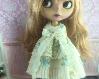 Blythe Vintage Lace Dress - Blue Floral with Stripe