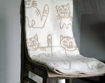 Wool blanket, thick wool blanket, child wool blanket, kid blanket, cat blanket