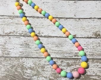 Girls Rainbow Bubblegum Necklace, Birthday Necklace, Beaded Necklace, Kids Necklace, Long Necklace
