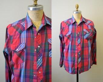 1980s Wrangle Plaid Western Shirt