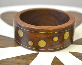 1970s Wood and Brass Bangle