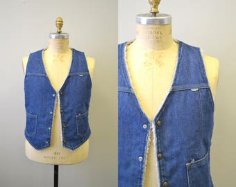 1970s Nelson Fleece Lined Denim Vest