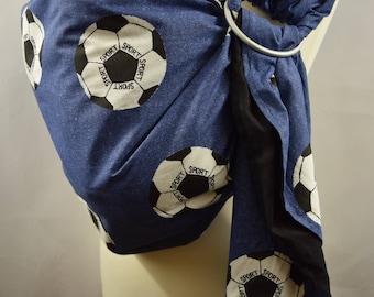 Baby Ring Sling Carrier / Sling / Carrier / Reversible / Unpadded / Goal with Black / Handmade / Made in UK
