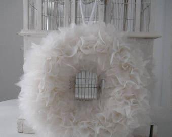 full fluffy wreath nursery decor tulle look wreath white rag wreath cottage chic wedding wreath door wreath shabby decor 16 inch wreath