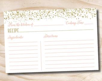 Brunch & Bubbly Confetti Glitter Bridal Shower Recipe card - INSTANT DOWNLOAD