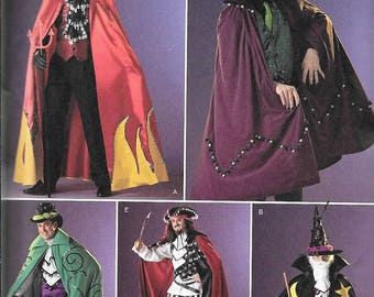 Simplicity 2499 Cape Vest Pants Jabot Men's Wizard Devil Pirate Sewing Pattern UNCUT Size XS, S, M