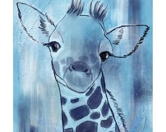 5x7 Nursery Print - Giraffe, Blue