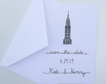 NYC Save the Dates -- Empire State Building -- Wedding Save the Dates -- Personalized -- Pick your Quantity