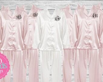Bridesmaid Pajamas  Set of 10 Monogrammed Pajamas, Bridesmaid Pajama Set,  Personalized Pajamas, Embroidered Pajamas, Wedding Pj's
