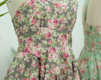 Floral dress grey dress floral bridesmaid dress floral sundress floral prom dress floral tea dress gray bridesmaid dresses
