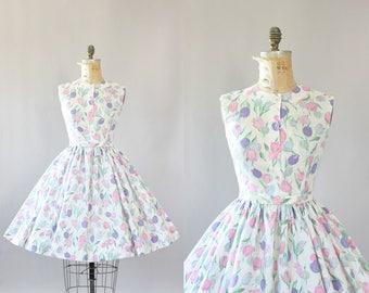 Vintage 50s Dress/ 1950s Cotton Dress/ Pink and Purple Floral Print Cotton Dress w/ Bow Waist Belt S