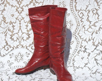 Tall Burgundy Leather Bohemian Boots