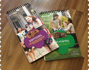 Girl Scout Cookies Notebook, Samoas, Thin Mints, Recycled Spiral Bound Notebooks, Cookies, Jotter