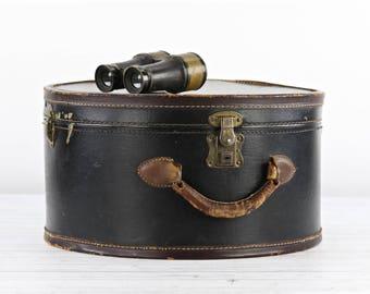 Round Leather Suitcase Vintage Round Suitcase Hat Box Suitcase Black Round Suitcase Hat Suitcase Train Case Old Round Suitcase Luggage