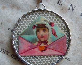 Fiona & The Fig - Antique Victorian Die Cut Scrap - Young Girl in an Envelope  - Charm -  Necklace - Pendant - Jewelry