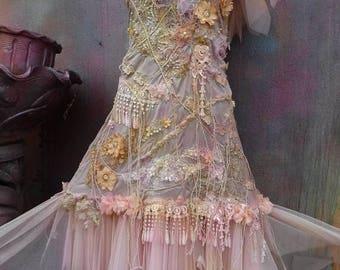 20%OFF RESERVEDwedding, bridal, fantasy, tattered, wedding dress, gypsy wedding, woodland, bridesmaid dress,stevie nicks, medium to 44' bust