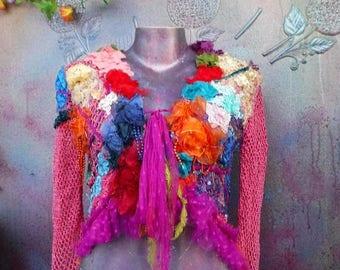 20%OFF bohemian lagenlook gypsy boho shabby gothic jacket.smaller to 36'' chest..