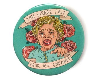 you face make babies cry button pins illustration