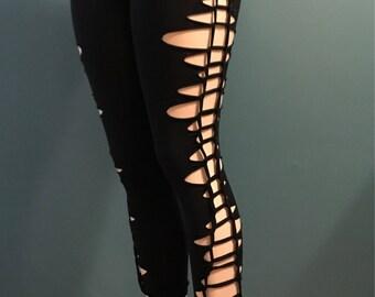 Braided Black Leggings - Nylon Blend Jersey Knit Braided Stretchy Festival Club Wear