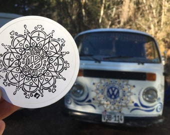 Kombi Wasi Sticker, VW Gypsy, Vanlife Mandala. 3 inch