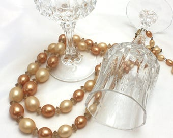 Multi Strand Champagne and Pale Chocolate Beaded Necklace, Tan, Mocha Chunky