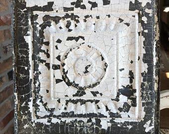 "Genuine Antique Ceiling Tile -- 12"" x 12"" -- Chippy White Paint -- Beautiful Framed Design"