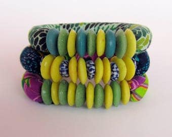 Recycle Glass krobo Trade Beads - West African Beads - Stretch bracelets