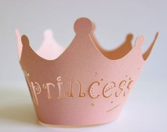 Princess Cupcake Wrappers 12 or 24 Pink Laser Cut Paper / Birthdays / Shower / Baking / Gifts