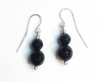 Genuine Faceted Onyx and Sterling Earrings. Hand made Onyx Earrings