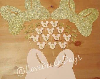 Minnie Mouse Party Pack: Glitter Minnie Mouse Cupcake Toppers & Large Glitter Minnie Mouse Bows