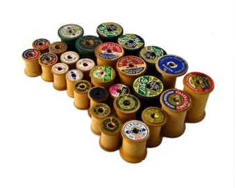 Vintage Wooden Thread Spools Lot, Vintage Spools Lot of 27