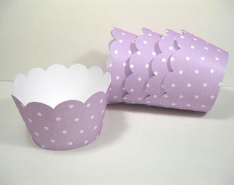 12 scalloped standard size cupcake wrappers - cupcake holder - girl baby shower - Lavender cupcake wrappers - girl birthday - it's a girl
