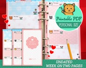 PRINTABLE Personal Size UNDATED Week On Two Pages Cute Kawaii Kitty for Filofax Kikki.K Louis Vuitton Organizer Planner Instant Download