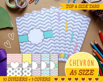 A5 Size Chevron Dividers 5 Top Tabs, 5 Side tabs, 5 Covers for Filofax A5, Kikki.K  Large, Louis Vuitton GM, Planner Agenda Instant Download