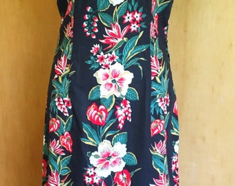 Vintage 1950s inspired hibiscus Hawaiian tea timer wiggle dress S only rockabilly VLV