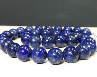 Lapis Lazuli Stone 6, 8, 10 or 12 mm Smooth Round Beads 15.5 inch strand Gemstone Beads Ship within 24 Hr. from USA (G4853NW18253046)