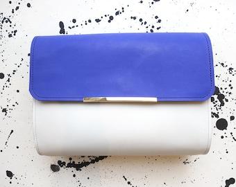 """Naomi"" blue, white and black leather handbag"