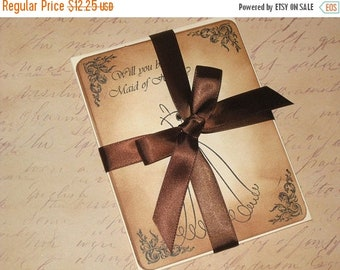 March Sale Vintage Style Will You be my Bridesmaid Maid of Honor Carte Postal Thank You Save the Date Wedding