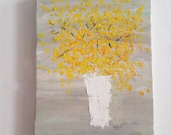 Vase with flowers - Floral wall art- canvas- Yellow flowers - Impressionist painting- Flowers Original Painting- Figurative art