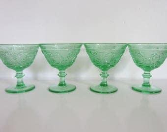 Vintage Green Glass, Cut Green Wine Glasses