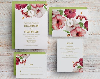 Mexico Wedding Invitations, Hawaiian Invitations, Tropical Wedding Invitations, Menu, Save the Dates, Table Numbers, Programs, Beach, Maui