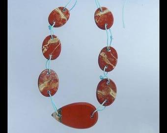 Red River Jasper Gemstone Pendant Bead Set,33x18x4mm,20x15x3mm,16.0g(s0048)