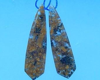 Natural stone,Ocean jasper,Gemstone earring bead,50x13x5mm,10.3g