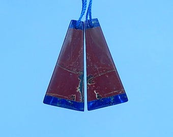 Fashion,Multi-Color Picasso Jasper,Lapis Lazuli,Gemstone earring bead,31x15x4mm,6.28g