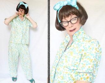 Vintage Cotton Nightwear as Cotton Floral PJs, Plus Size Sleepwear, Womens Cotton Pajamas from the 1950s, Flower Pajama Set