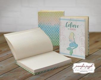 Mermaid Believe 5x7 Hardback Bound Journal -Inspirational, Word Art -Blue, Green, Pink, Yellow