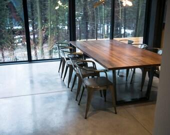 Clear Walnut Dining Table, Steel Trapezoid Legs, Custom U0027Sakamotou0027 Table