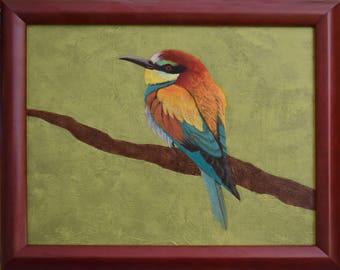 """Bird Painting...Small Frame Art...8 x 10""""  Bird Art...Painting Frame...Acrylic Painting...Green Painting"""